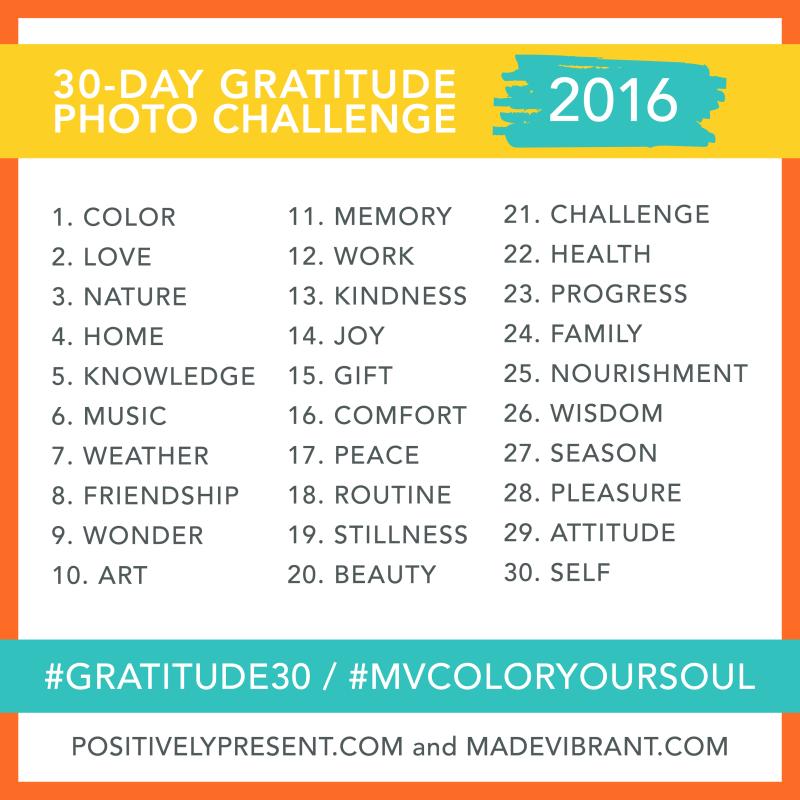 Gratitude Challenge Prompts 2016
