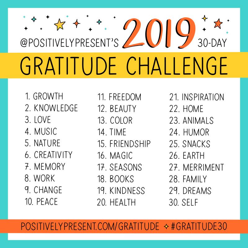 Positively Present 2019 Gratitude Challenge